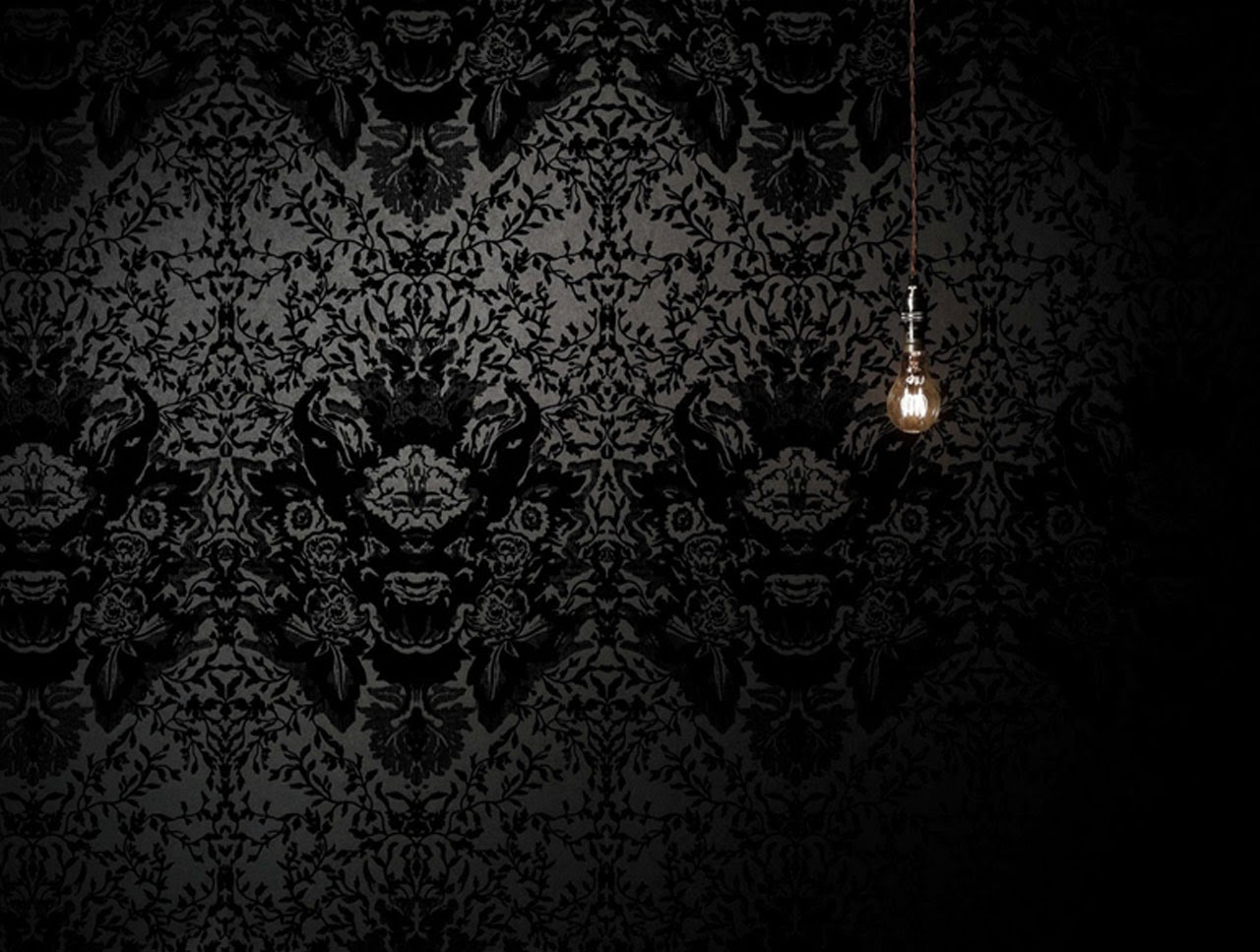 black damask wallpaper on - photo #1