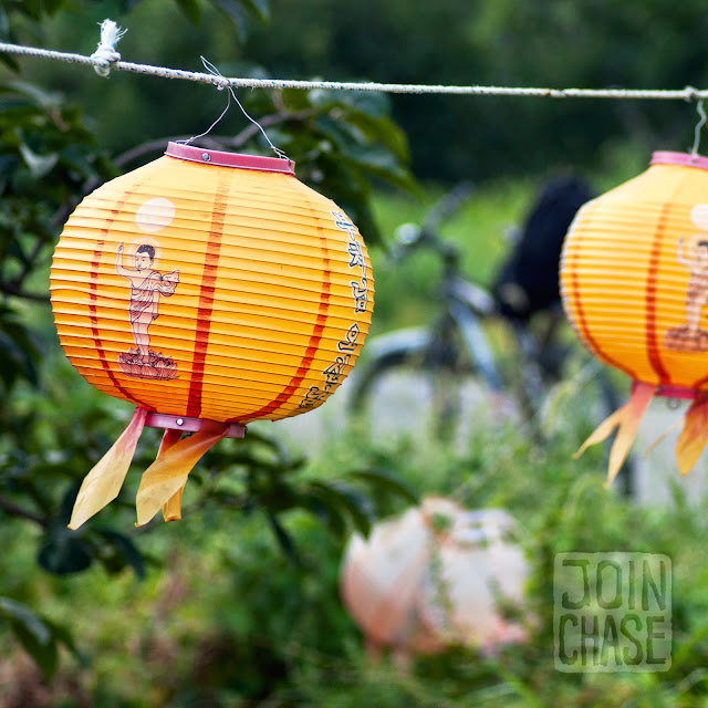 Old lanterns along the Yeongsang River Bike Path in South Korea.