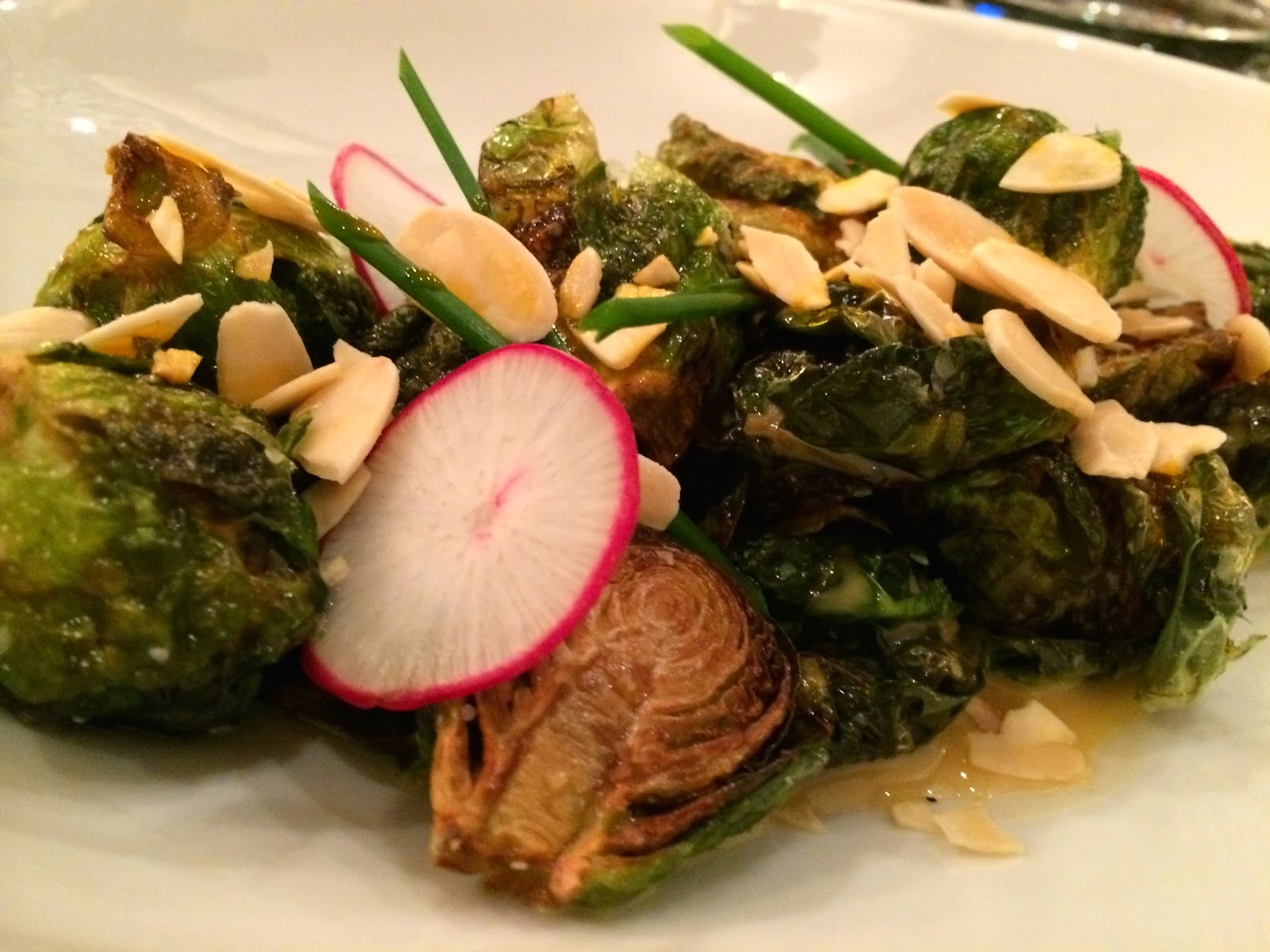 Brussels sprouts, radish, almonds, and more at the Fountain Lounge