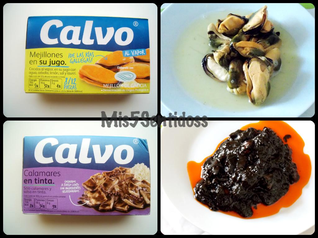 Mejillones y calamares en su tinta Calvo