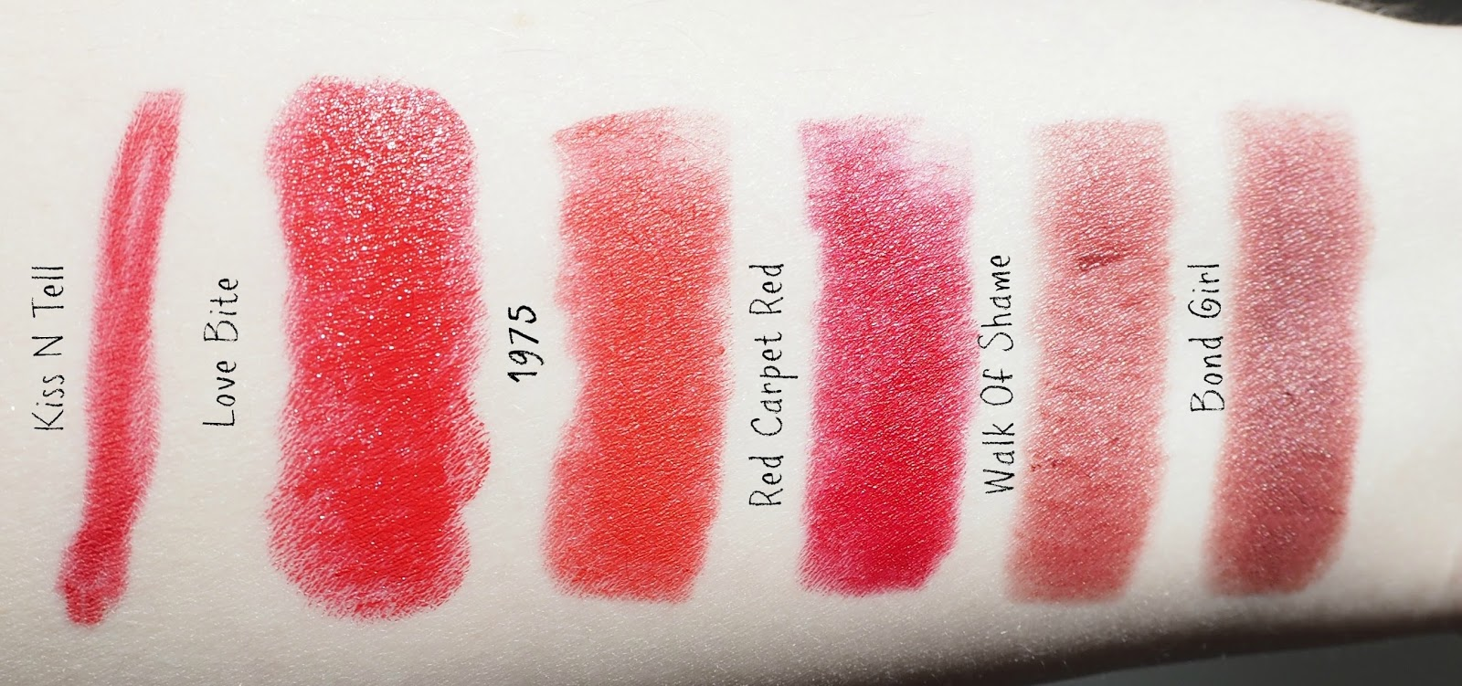 Charlotte Tilbury lipstick swatches