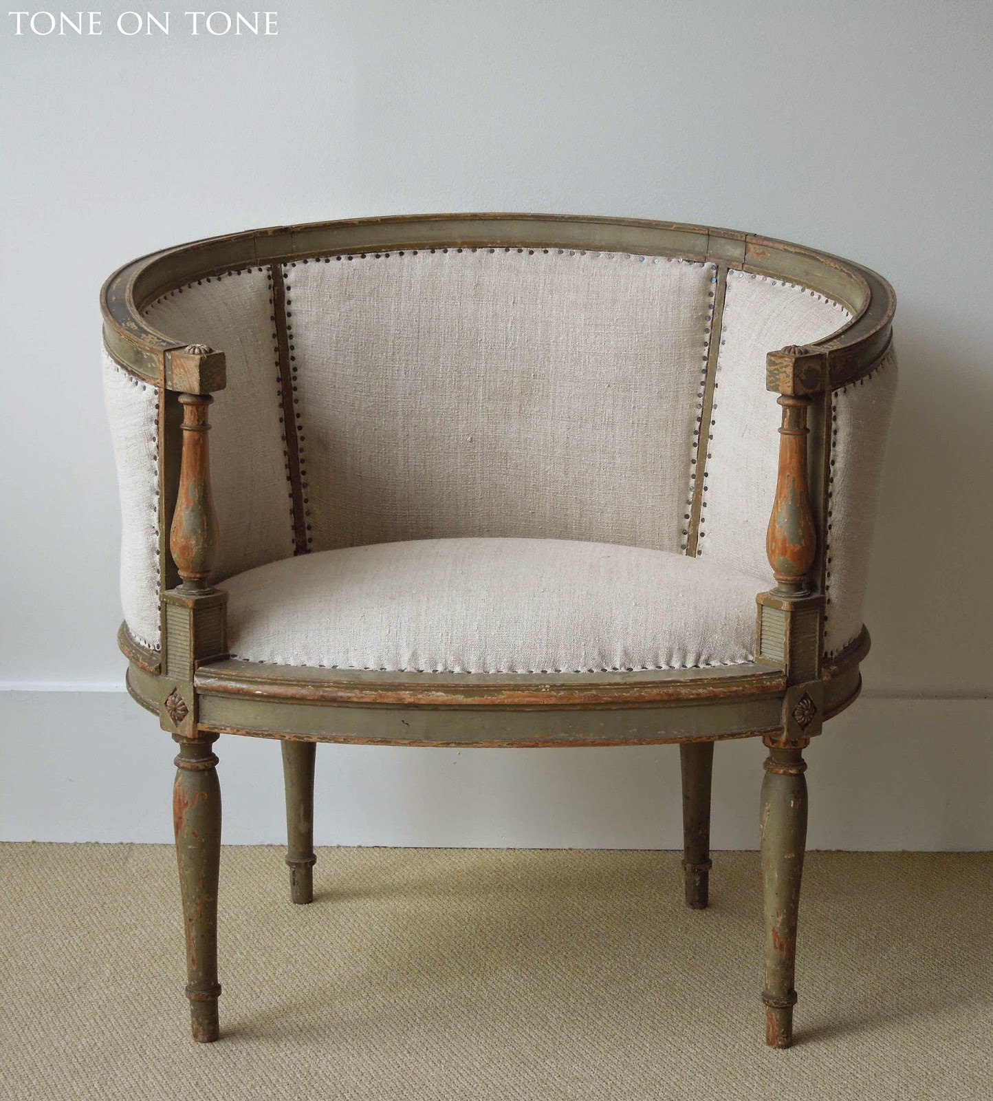 Antique barrel chair - This Vignette Features A French 1770 90s Trumeau Mirror Early 1900s Large Sunburst Mirror And Late 1890s Directoire Style Armchairs One Shown Here