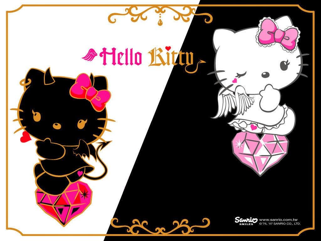 Gambar Wallpaper Hello Kitty HD Black White Pink