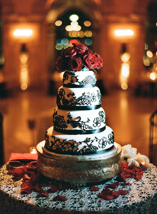 Black white and red wedding cake