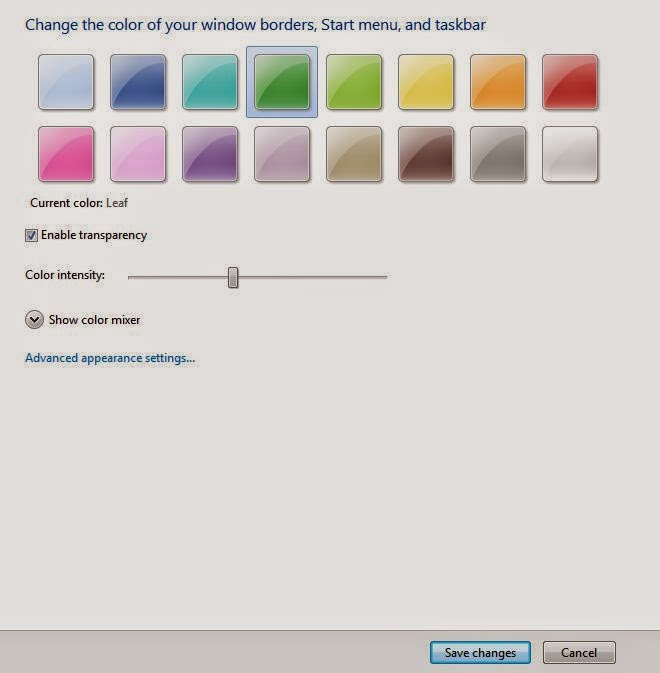 Cara merubah warna taskbar (window color) pada windows 7