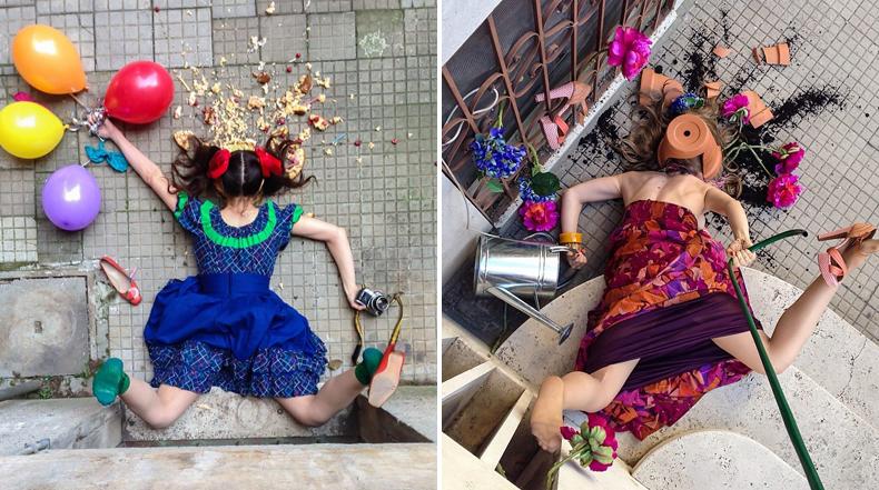 Hilarante serie de fotos de personas posando como si ellos simplemente se hubieran caído
