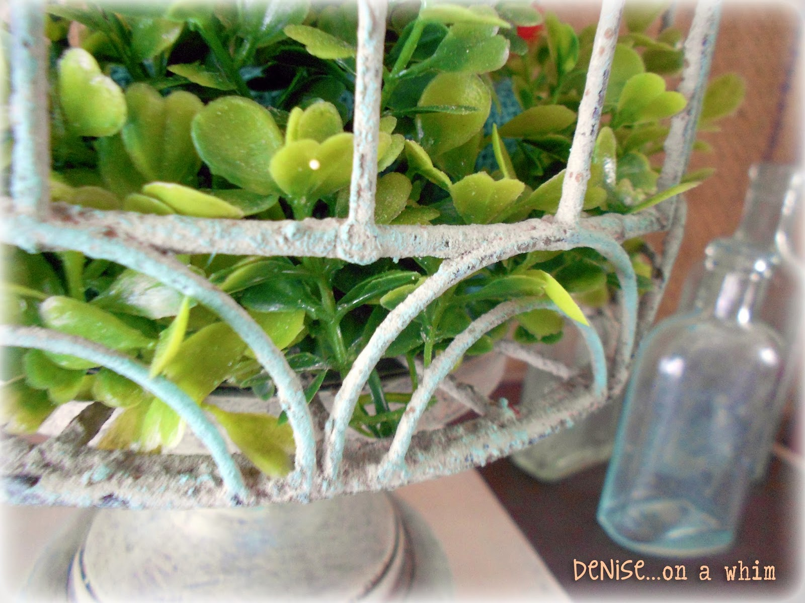 Faux Boxwood in a Shabby Birdcage via http://deniseonawhim.blogspot.com