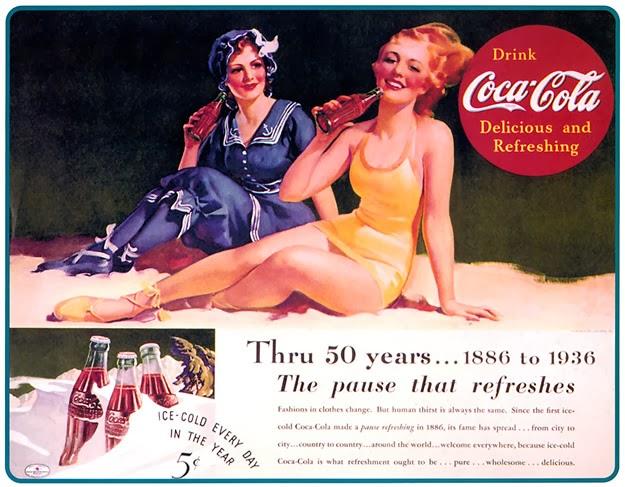 Cartaz promocional da Coca-Cola em 1936. Comemoração de 50 anos de mercado.