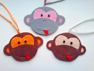 игрушки из фетра, обезьянка из фетра, новогодние игрушки из фетра