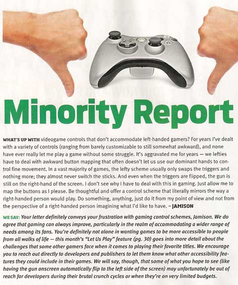 Scan of a letter detailing frustrations in the lack of left-hand play options in games.