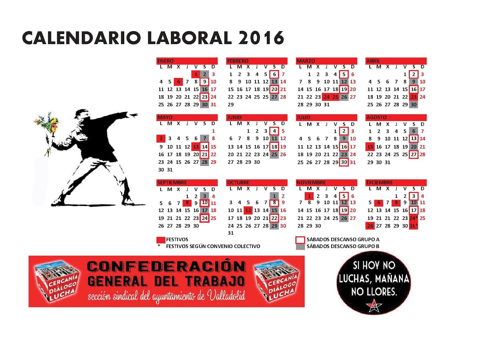 Calendario laboral 2016 blog de la cgt en el ayuntamiento for Festivos valladolid 2017