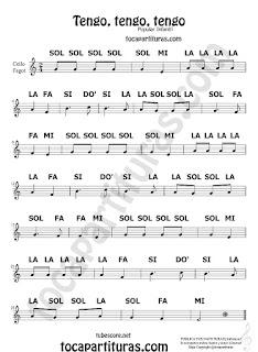 Partitura fácil Tengo, tengo, tengo Canción popular infantil con Notas en Clave de Sol Easy Sheet Music