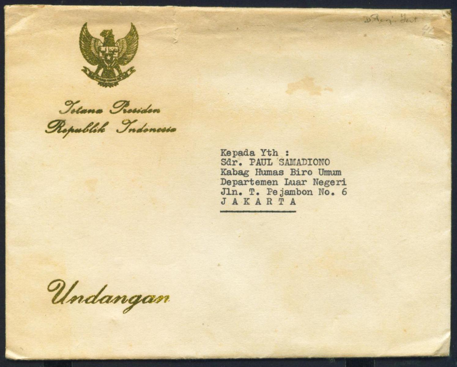 Koleksi Tempo Doeloe Surat Undangan Dari Presiden Soeharto