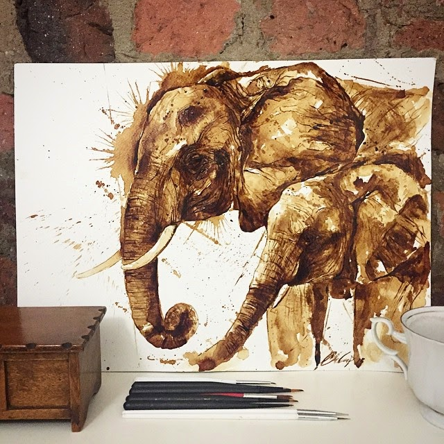 16-Elephants-Maria-A-Aristidou-Pop-Culture-Painted-with-Coffee-www-designstack-co