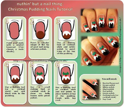 Christmas pudding nails tutorial
