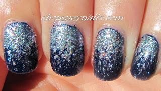 Blue and Silver Glitter Gradient Nail Art