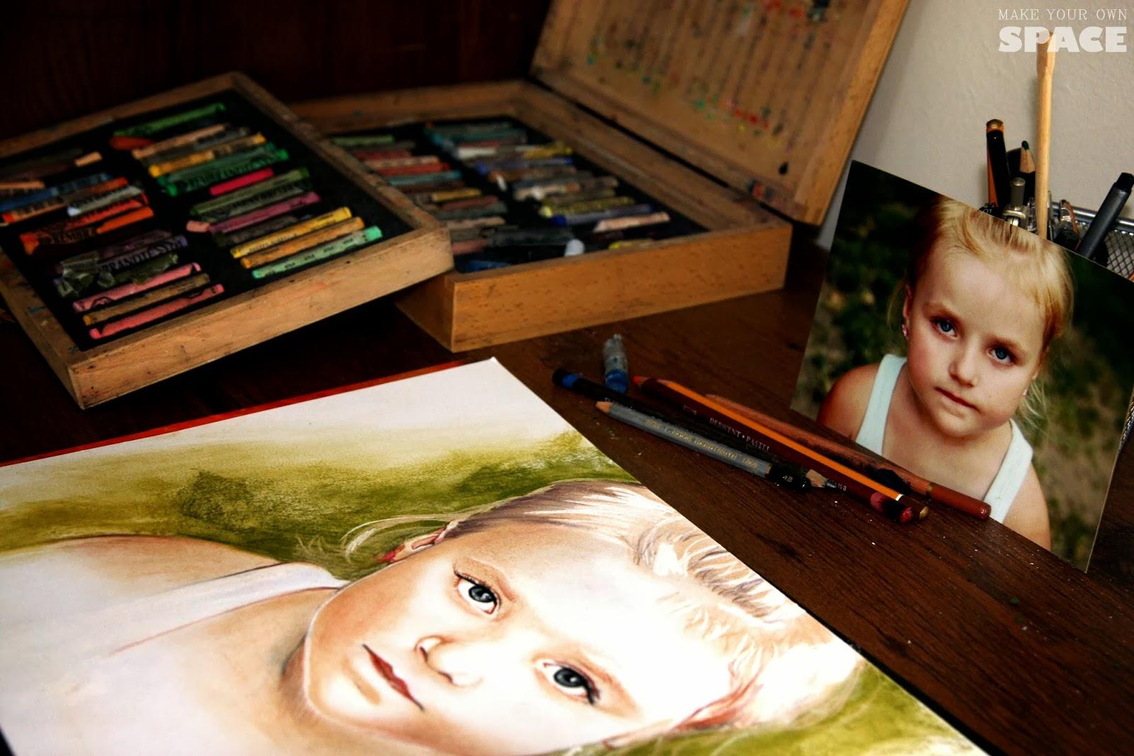pastele, portret, dziecko, portret dziecka, okazja, prezent