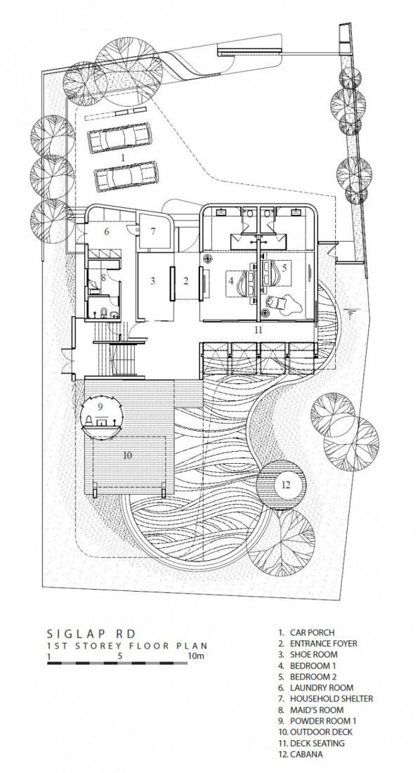 Site plan of the modern mansion in Singapore