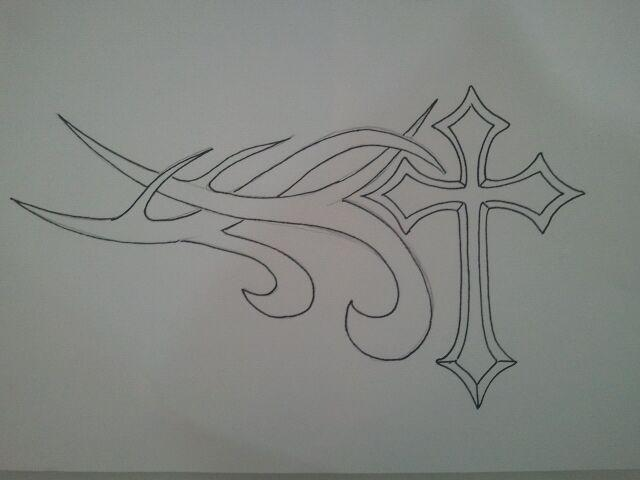 Cross Tattoo Drawing Outline