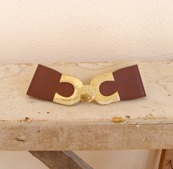 vintage cream brown leather belt