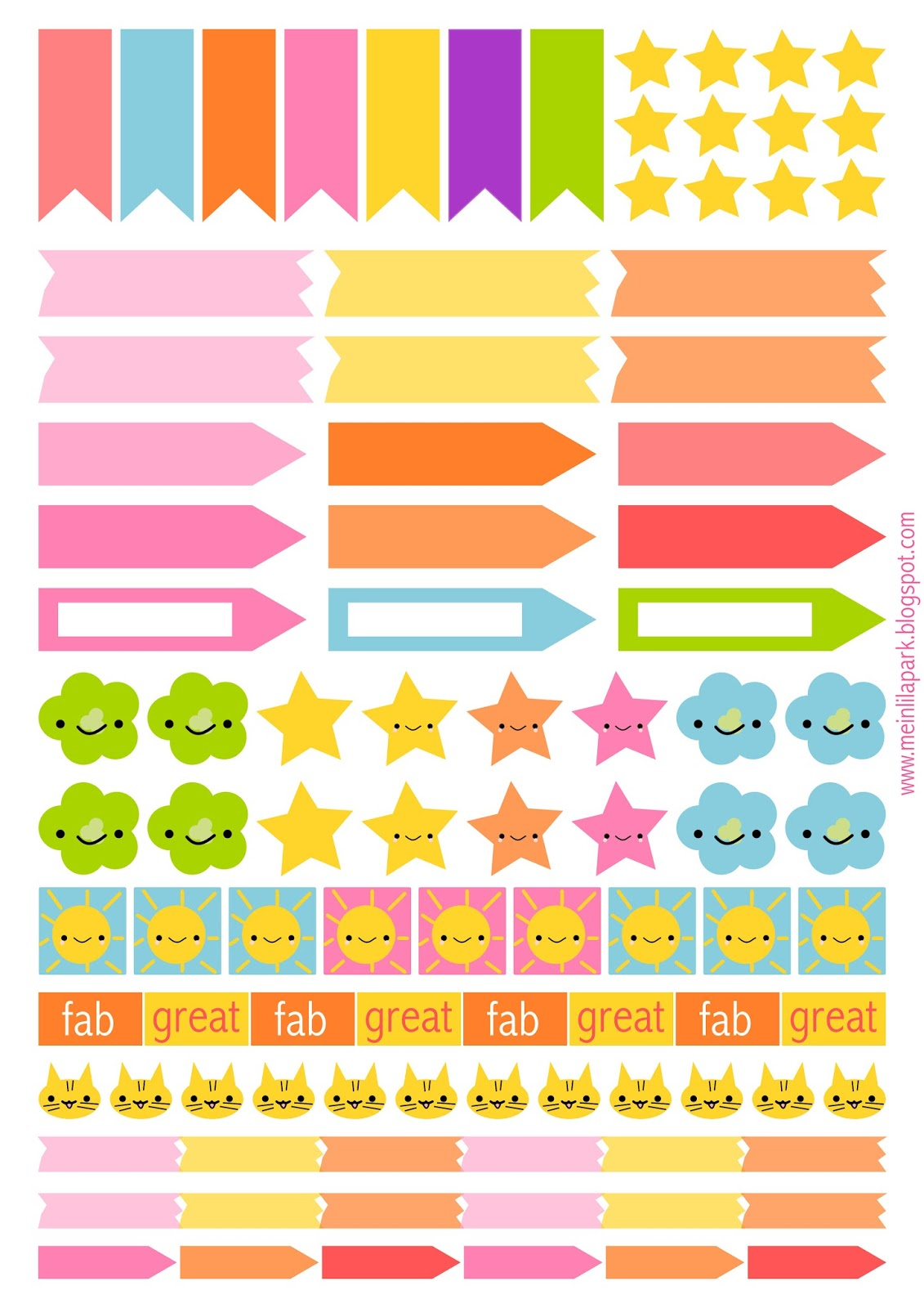Free printable planner flags and stickers ausdruckbare for Planner casa online gratis