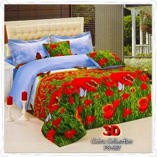 Sprei Motif Bunga Merah