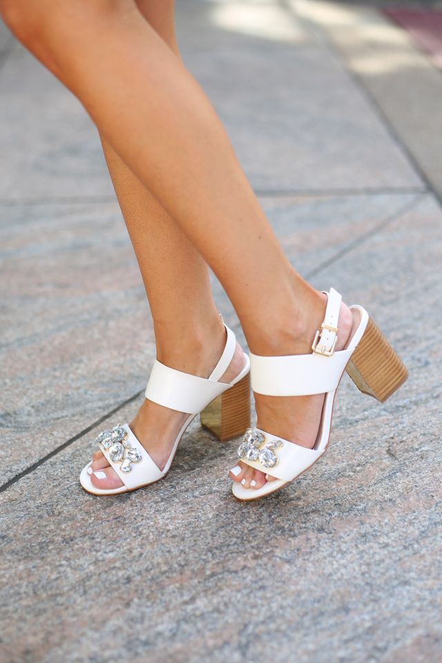 embellished white sandals