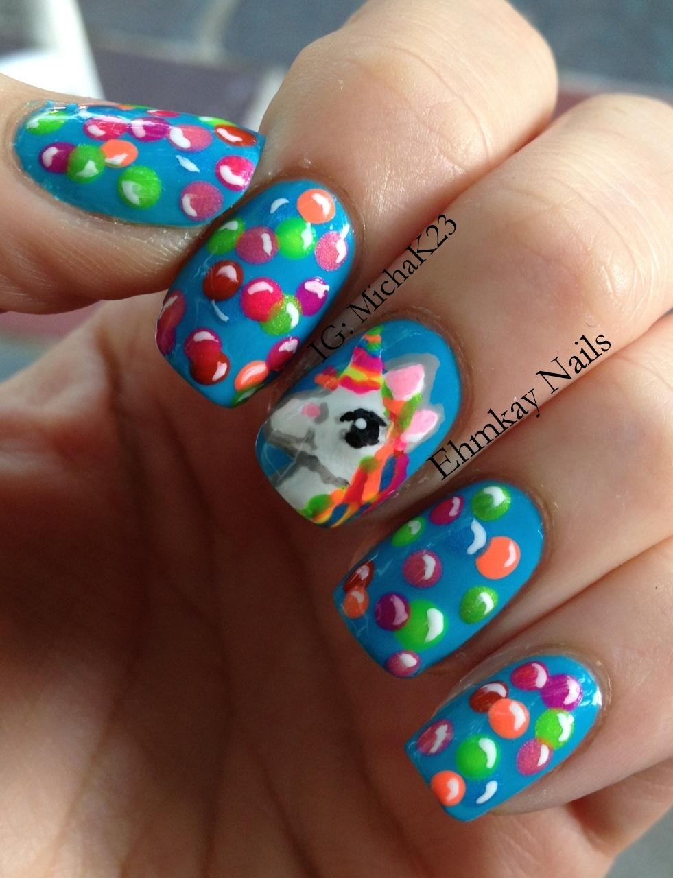 Ehmkay Nails: Lisa Frank Inspired Unicorn Rainbow Nail Art