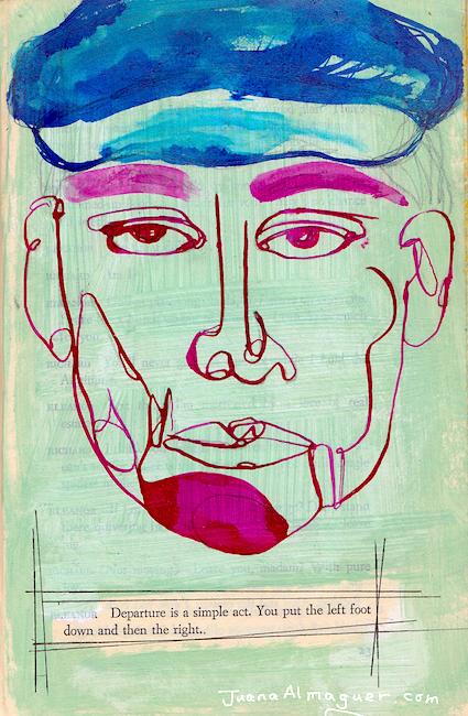 juana almaguer, DeAtramentis Inks line drawing, journal page