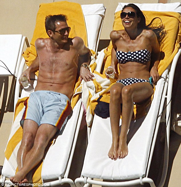 Bikini babe Christine Bleakley can't keep her hands off boyfriend Frank Lampard as they enjoy romantic Vegas vacation
