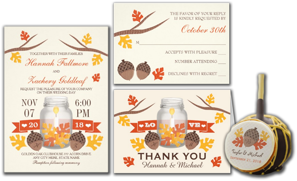 Monogrammed Fall Leaf Mason Jar Wedding Invites