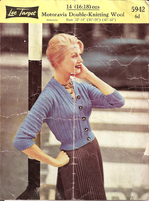 1950's Knitting - Lee Target Cardigan free pattern