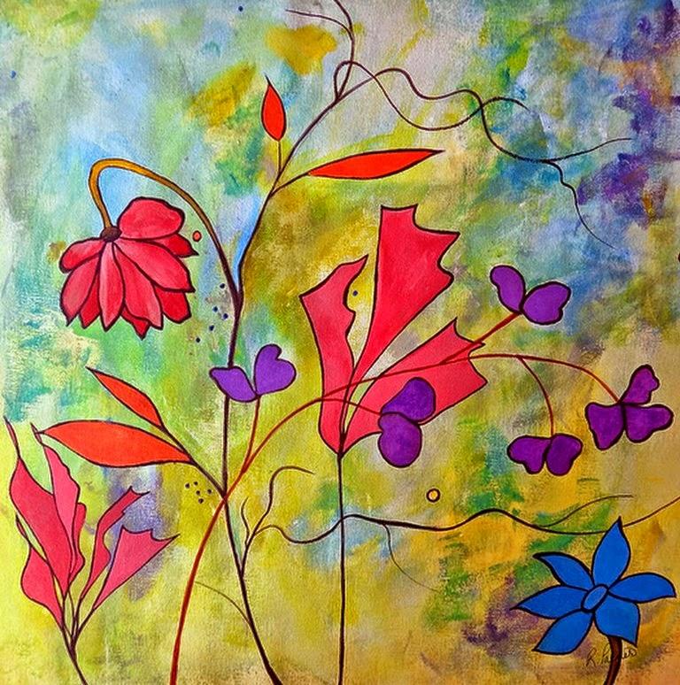 Cuadros modernos pinturas y dibujos pinturas florales for Imagenes cuadros abstractos modernos