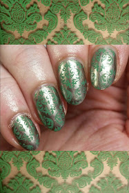 Julep Savoy stamped in a damask pattern with Revlon Lime Basil