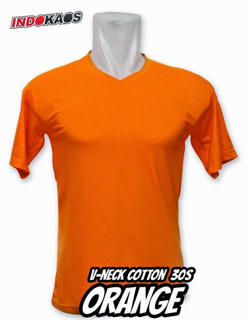 Kaos Polos V neck Orange