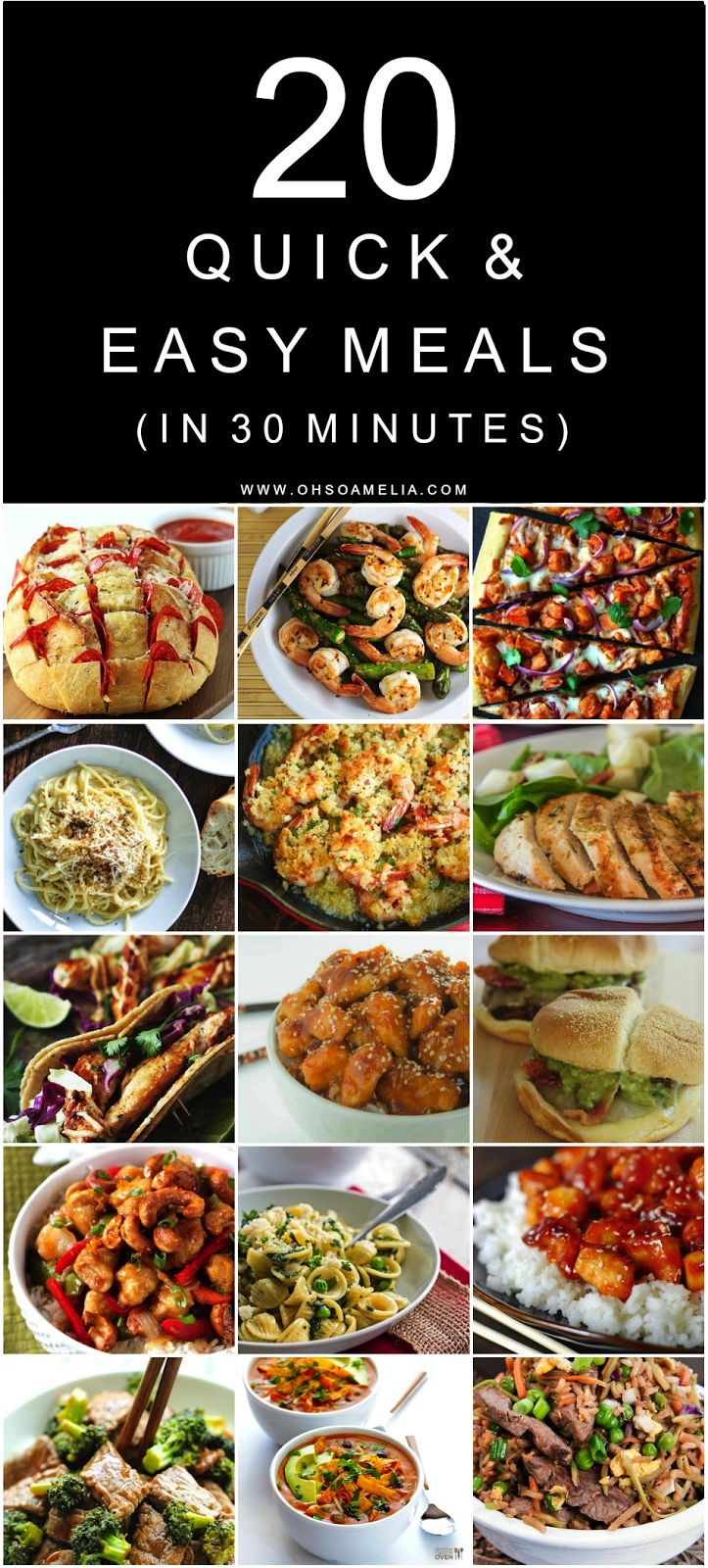 Here are 20 Quick & Easy Meals in 30 Minutes or Less which are great for busy mums!