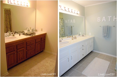 the very first thing i did in this bathroom was to paint the cabinetry and trim its an easy affordable solution and always helps to update an outdated