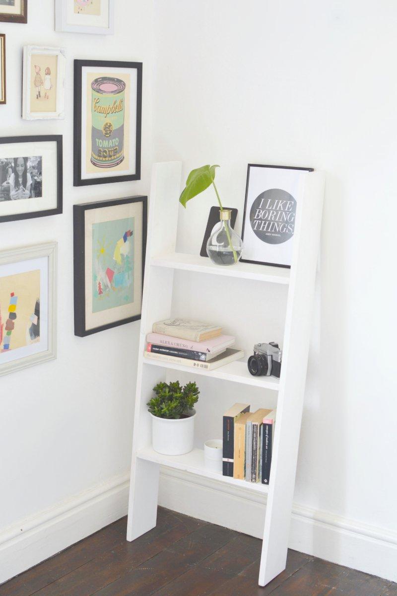 Diy ladder shelf burkatron - Small space bookshelf collection ...