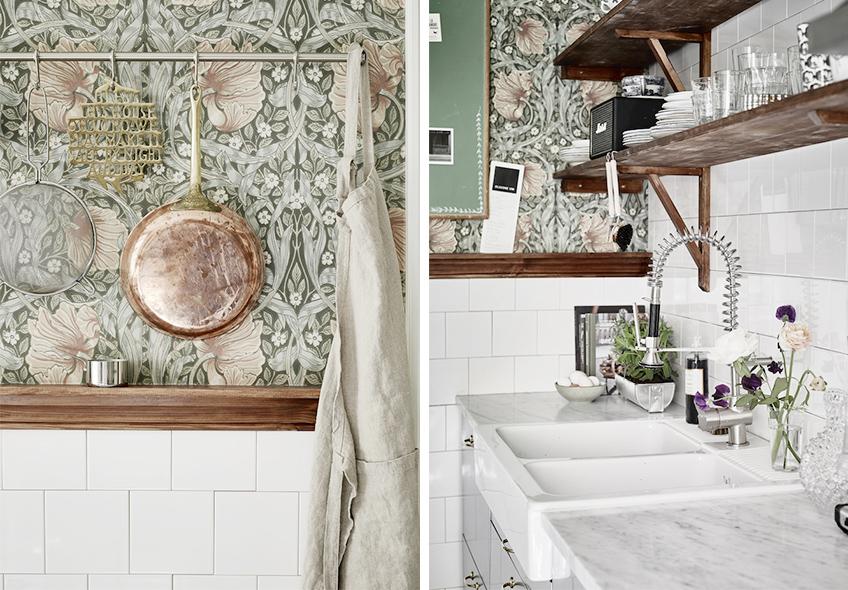 Una cocina r stica con papel pintado meu canto blog - Papel pintado rustico ...
