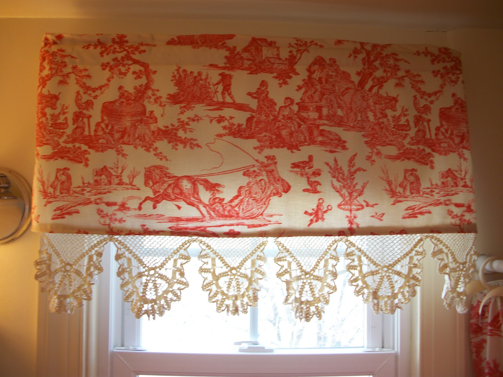 red toile shower curtain and matching valance