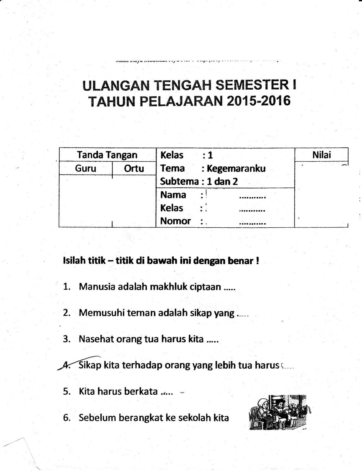 Uts Kegemaranku Sd Kelas 1 Semester Ganjil Ta 2015 2016 Kurikulum 2013 Sunarto S Kom