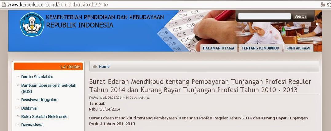 Surat Edaran Mendikbud tentang Pembayaran Tunjangan Profesi Reguler Tahun 2014 dan Kurang Bayar Tunjangan Profesi Tahun 2012-2013