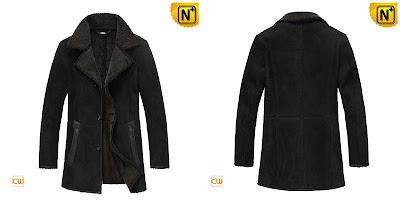 Mens Black Long Sheepskin Coat