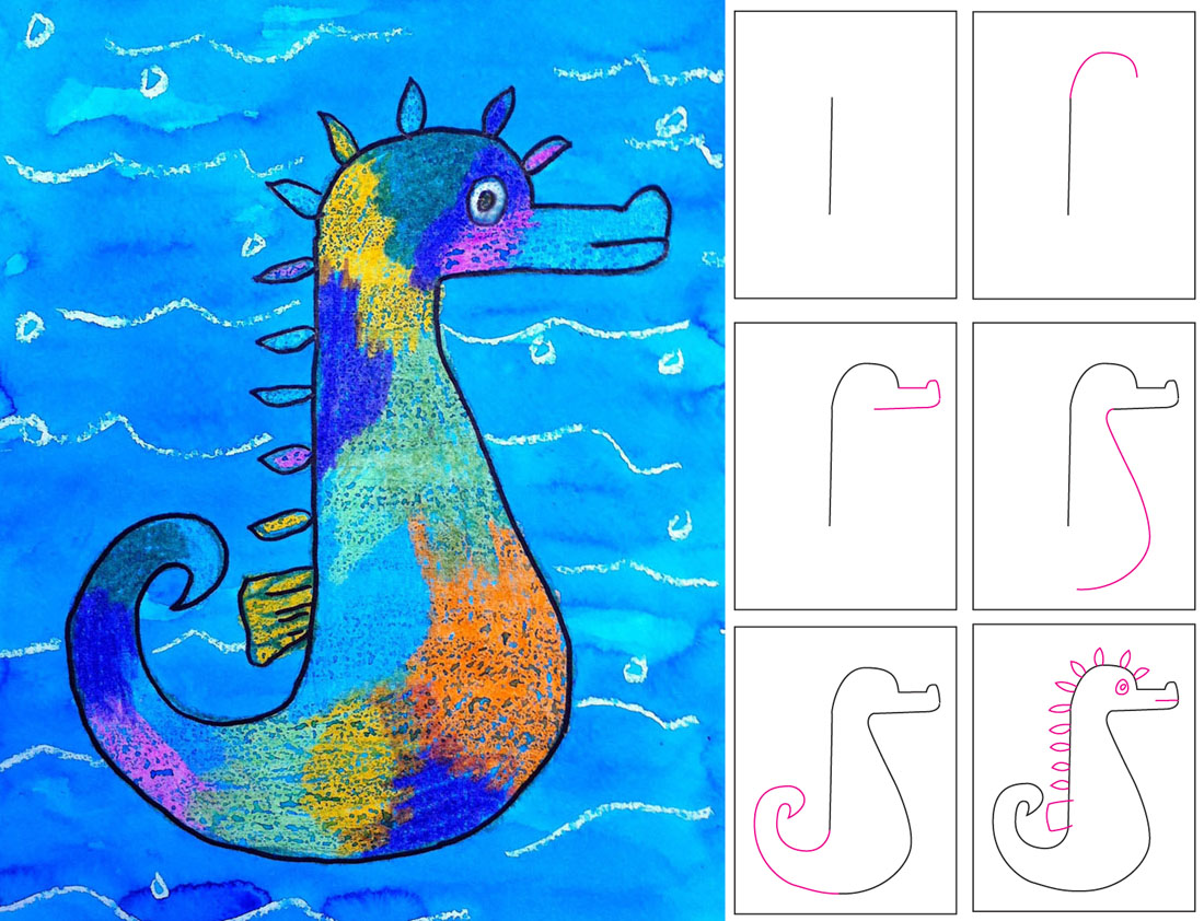 How To Draw Seahorse Step By For Kids A Art