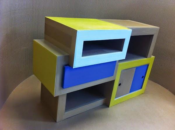 meuble en carton. rangement case et tiroirs en carton. création sur mesure fabriqué à marseille par juliadesign.