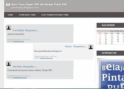 Halaman lihat form buku tamu ala belajar pintar php