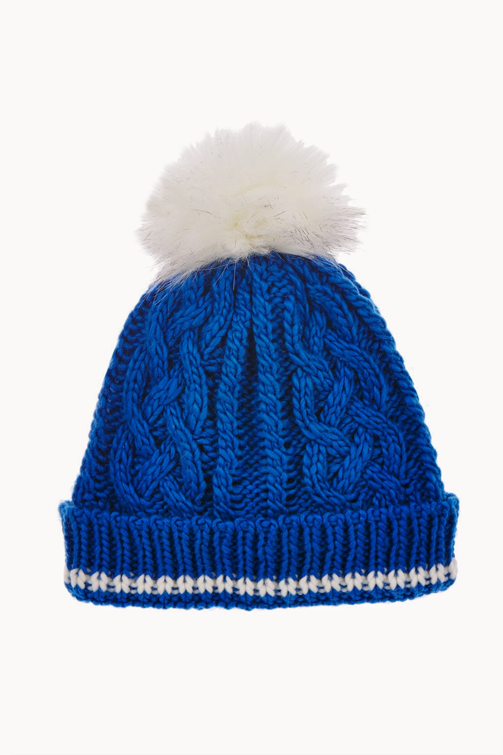 blue and white pom pom hat