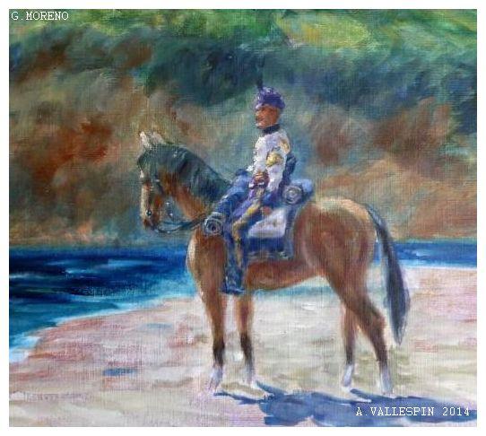 Oleo sobre papael de Husar de la princesa montado a caballo