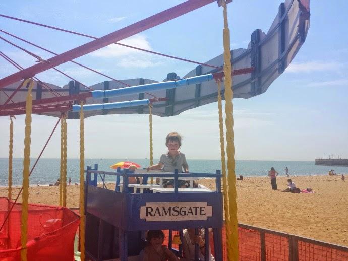 merry go round on the beach, beach rides, Ramsgate beach, toddler at the beach
