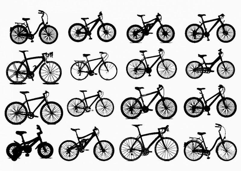 tipos de bicicleta, paseo, montaña, carretera, hibrida